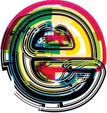 Colorful Grunge LETTER e