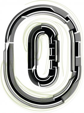 technological font. Number 0