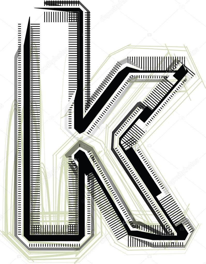 Technological Font Letter K Stock Vector C Aroas 33343139