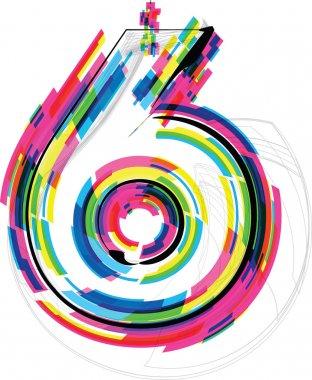font Illustration. Number 6. Vector illustration
