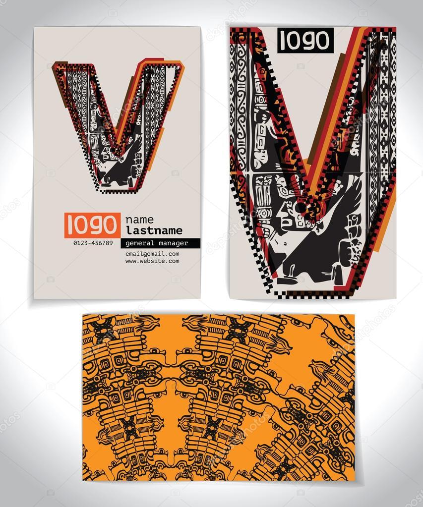 Ancienne Carte De Visite Design Lettre V Image Vectorielle