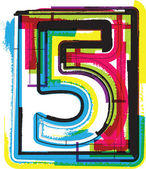 Photo Colorful Grunge Font NUMBER 5