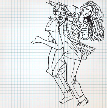 Young couple having fun sketch illustration