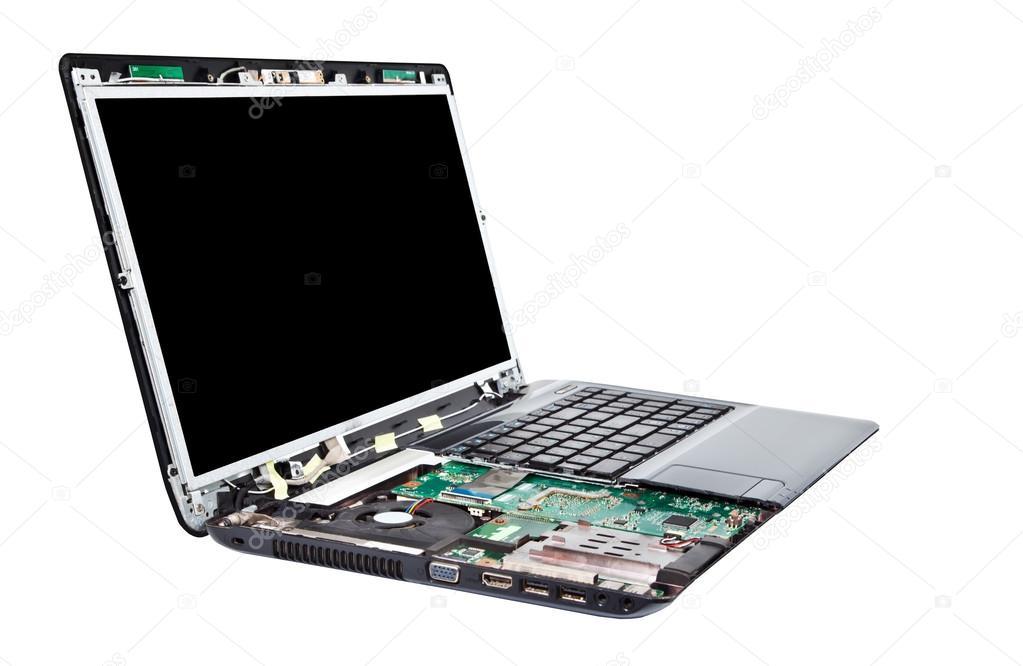 Laptop half disassembled. Laptop repair service — Stock Photo