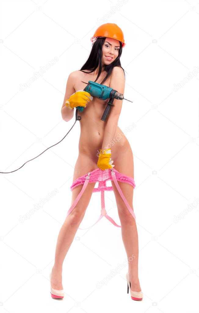 Nude girl with perforator on a white background