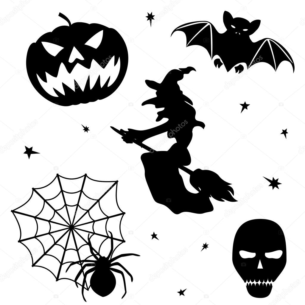 Halloween silhouette set on white background — Stock Vector ...