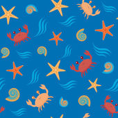 Fotografie Seamless pattern with crabs and shells