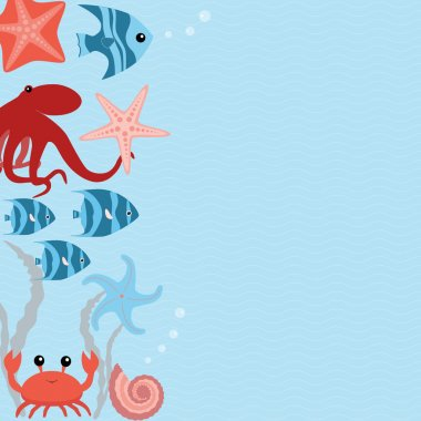 Vector card with sea animals