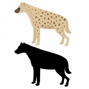 Vector hyena and silhouette