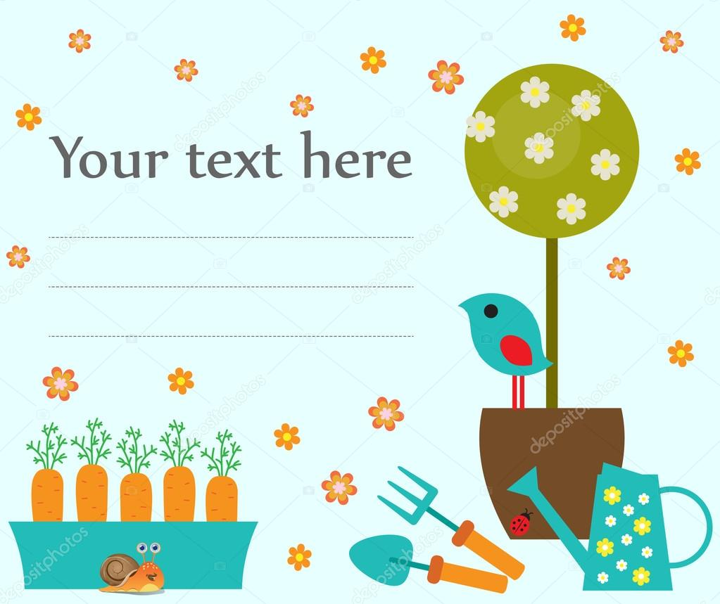 Card template with potted tree, watering can, bird and place for the text. Hand drawn vector illustration.
