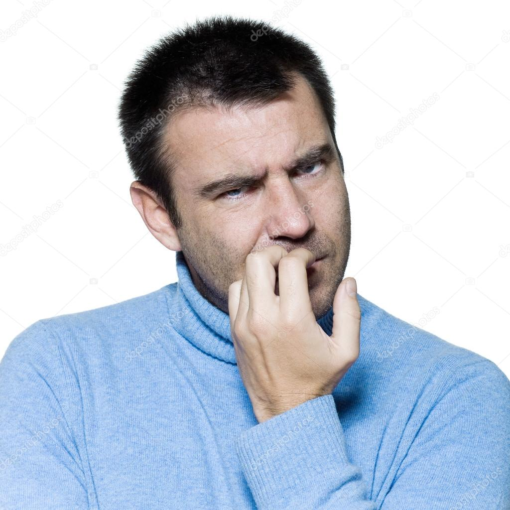 man portrait biting nails anxious nervous — Stock Photo © STYLEPICS ...