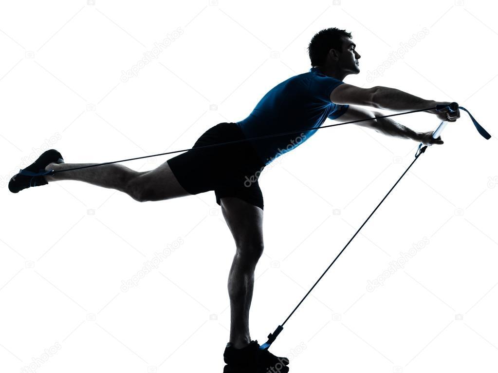 Aika siistiä virallinen kauppa saapuu Man exercising gymstick workout fitness posture — Stock ...