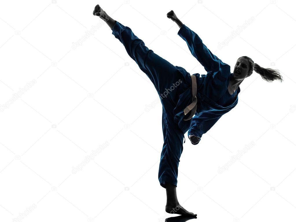 Imagen De Una Silueta De Una Mujer Para Colorear: Silueta De Mujer Karateca