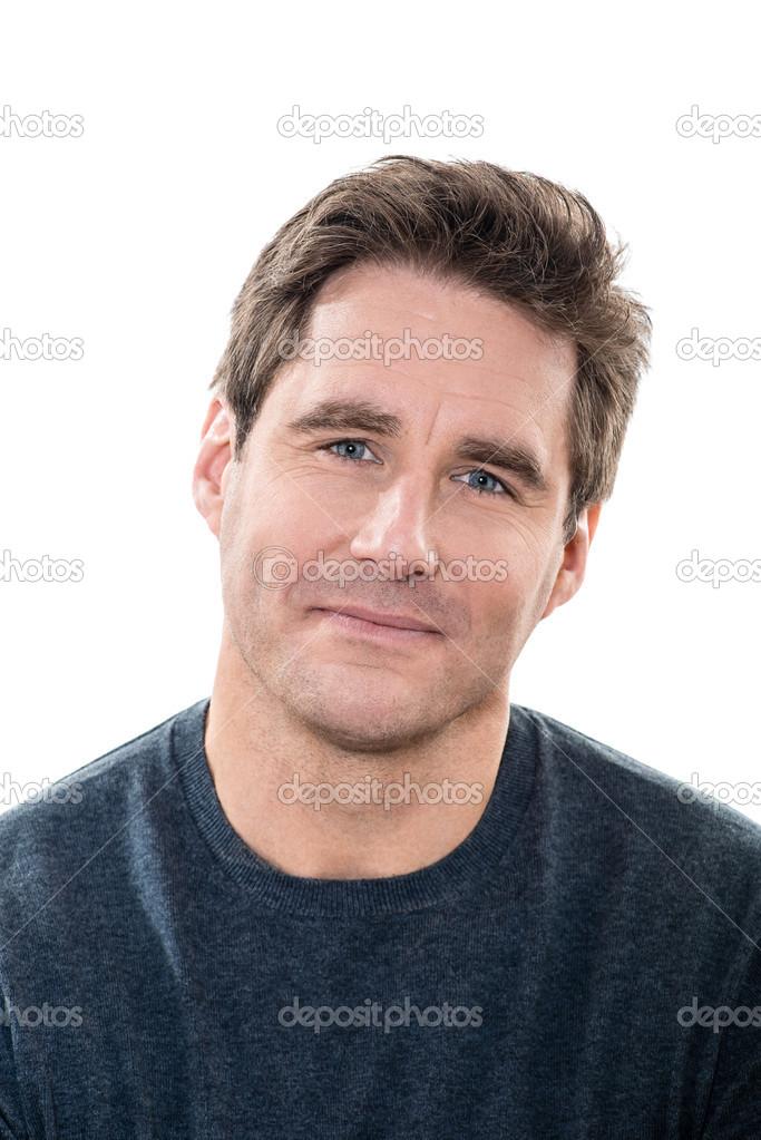 Olgun Yakışıklı Erkek Mavi Gözler Gülümseyen Portre Stok Foto