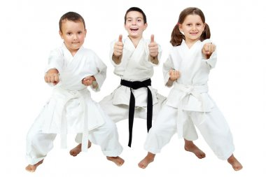 On a white background little children express the delight of karate lessons