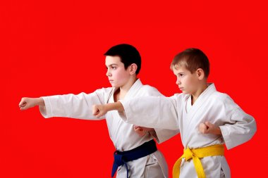 Blows arms in perform athletes  with blue and yellow belt