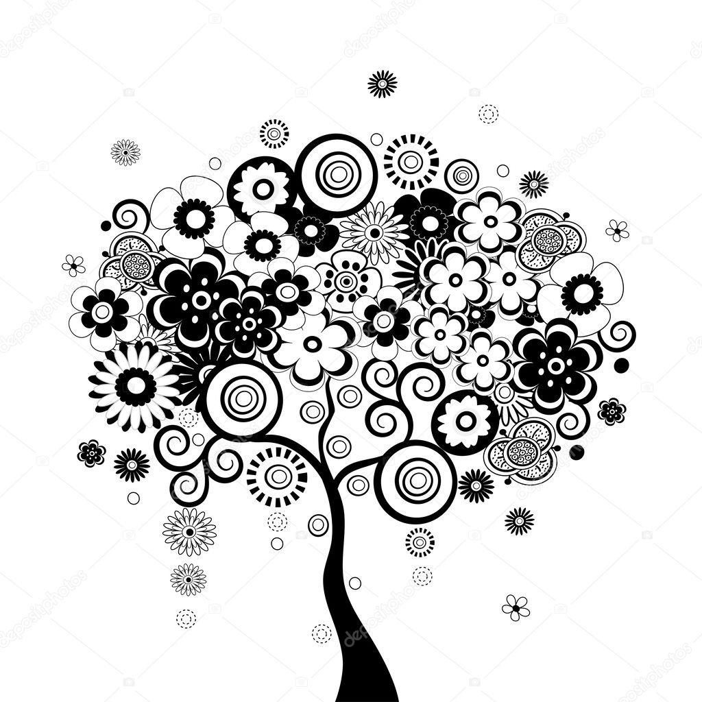черно белое дерево картинка