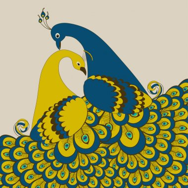 Pair of stylized peacock