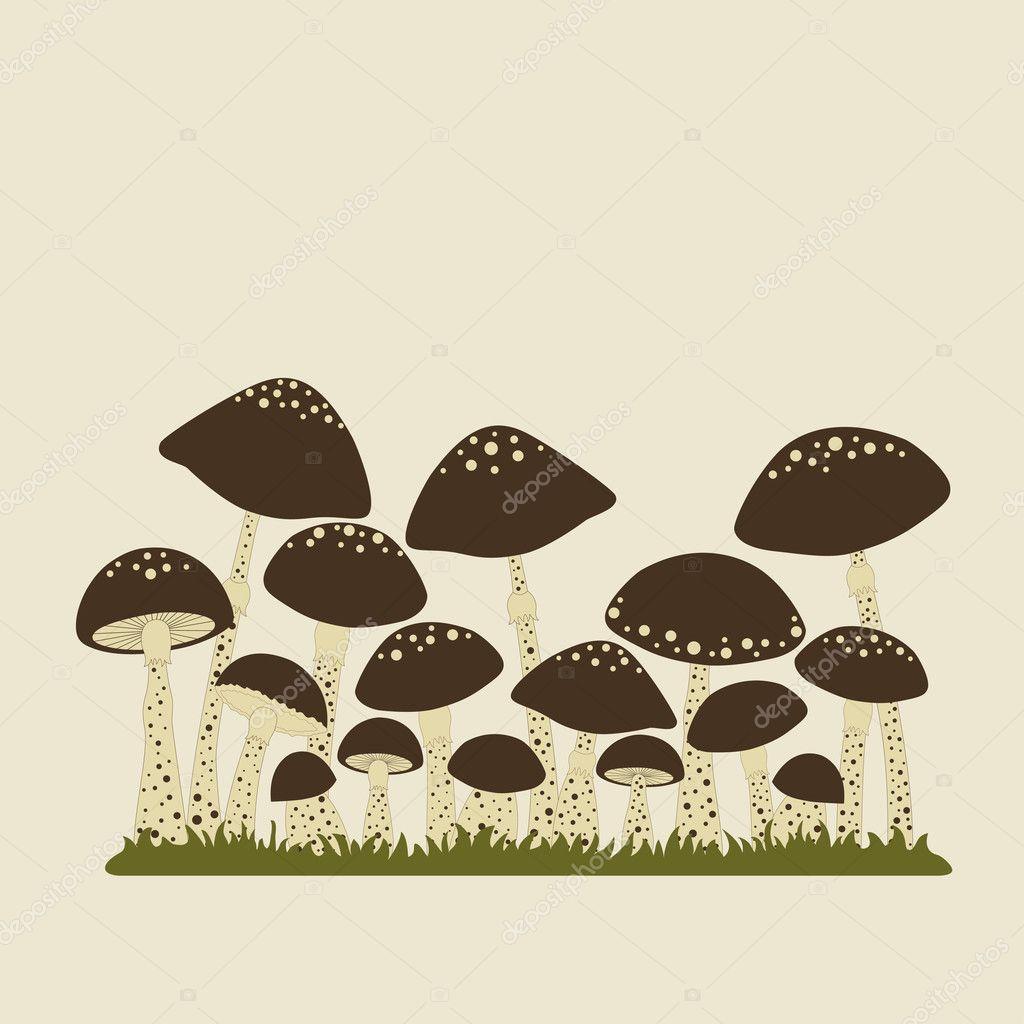 Card with cute mushrooms