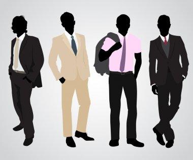 Four businessman silhouettes
