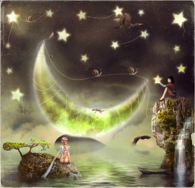 Illustration shows the fairy-tale island of .A boy catches stars.A girl looks at Lunar stock vector