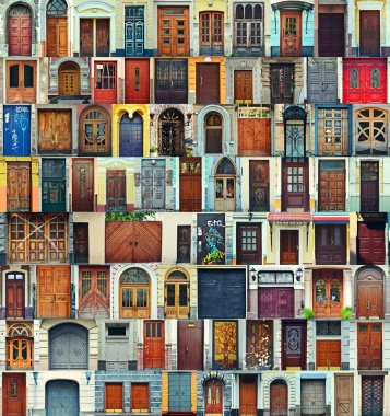 Collage of Kiev front doors,Ukraine