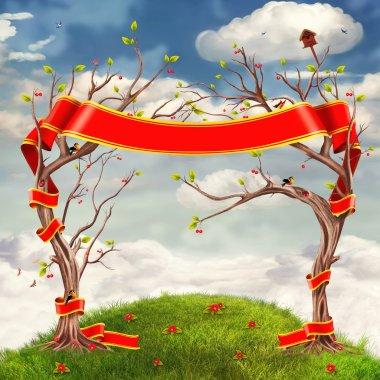 """Картина, постер, плакат, фотообои """"облака фон с деревьями, цветами, холмами и большой красной лентой """", артикул 27459493"""