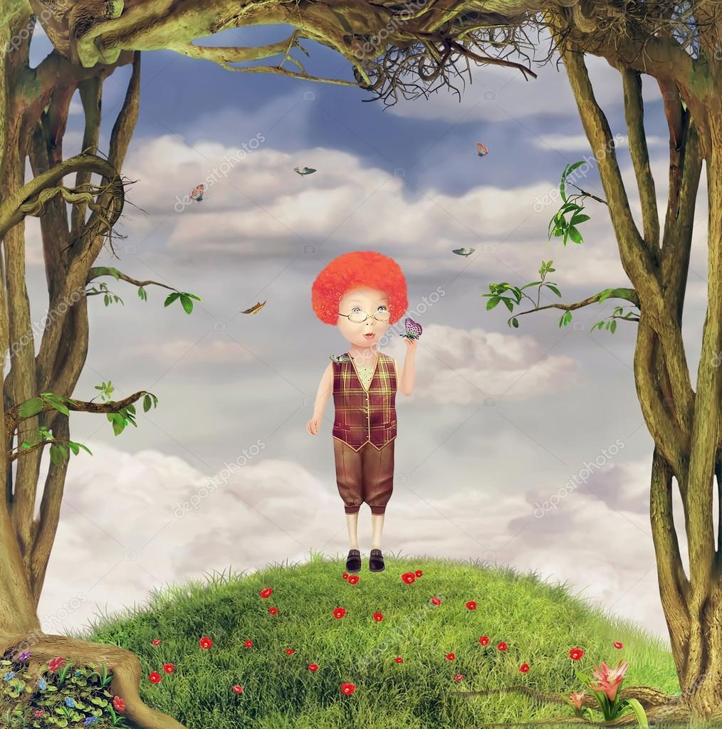 Illustration of a boy in garden