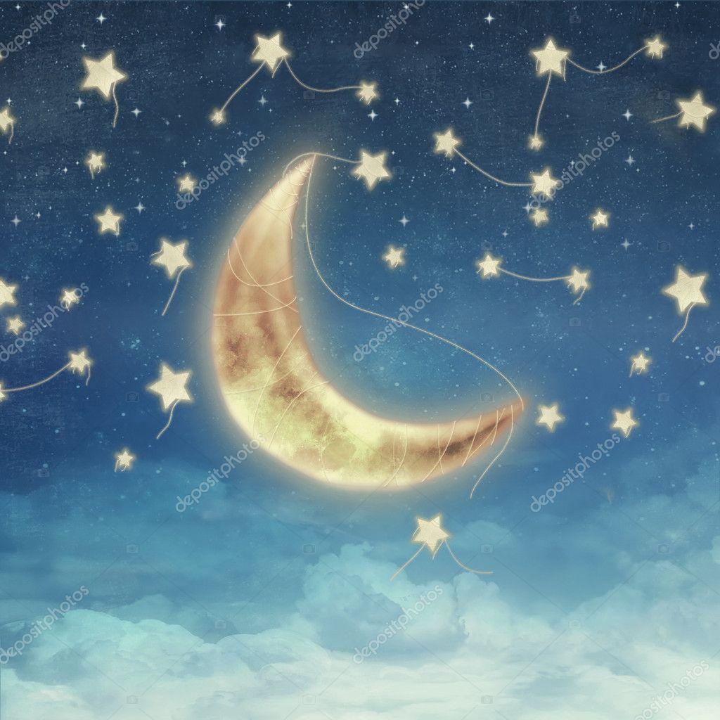Открытка с луной и звездами, ангелами