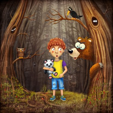 Little boy with the animals in the wood