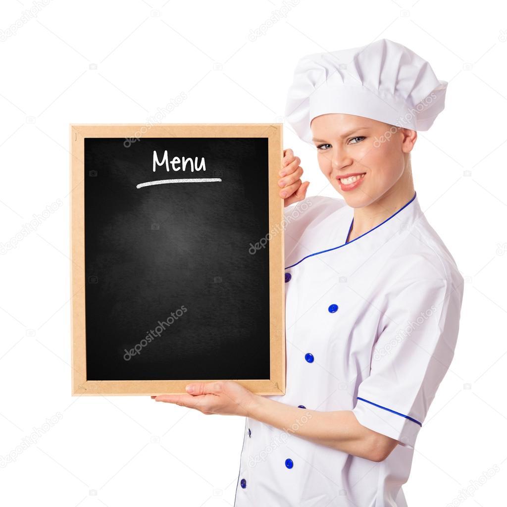 Femme de chef cuisinier avec tableau noir photographie for Cuisinier 94 photos
