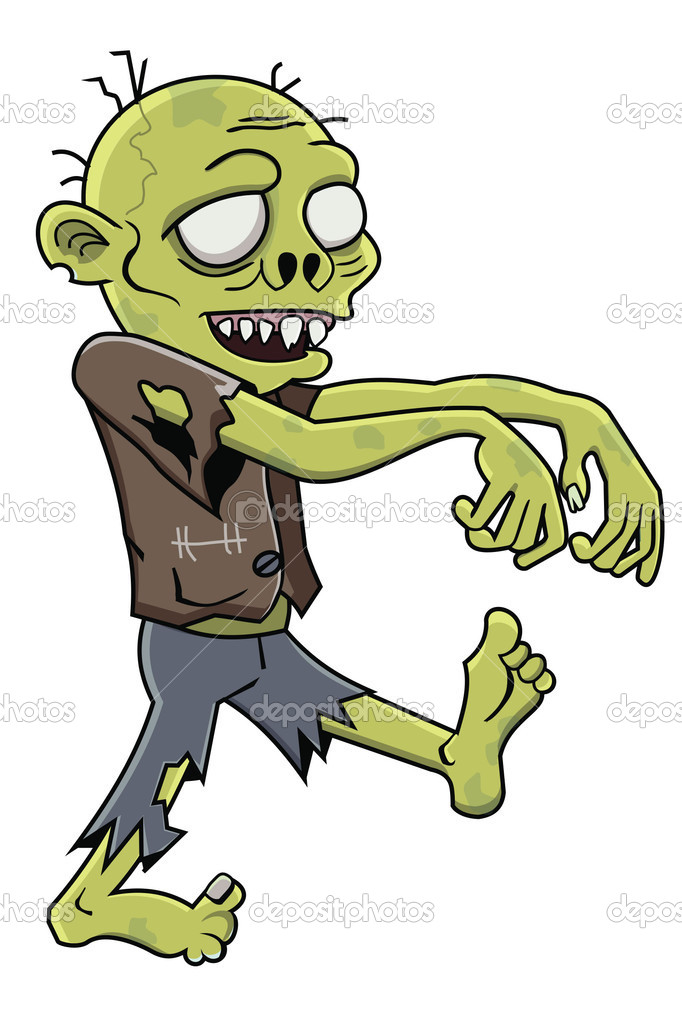 Cartoon zombie isolated on white background — Stock Vector ...