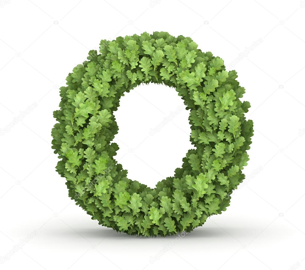 Letter O from green leaves