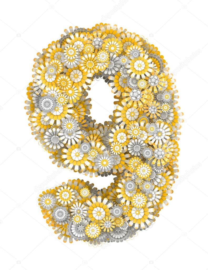 Number 9 From Camomile Flowers Stock Photo Iunewind 20164517