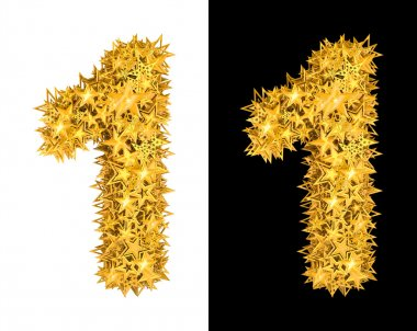 Gold shiny stars number 1