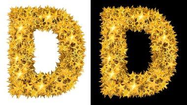 Gold shiny stars letter D