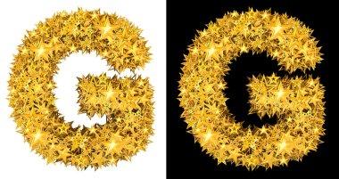 Gold shiny stars letter G