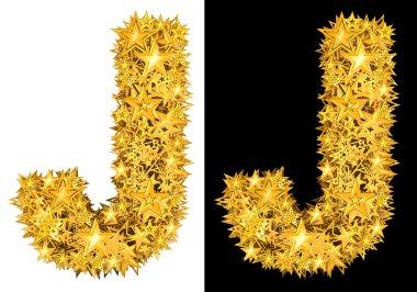 Gold shiny stars letter J