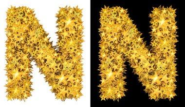 Gold shiny stars letter N