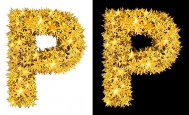 Gold shiny stars letter P
