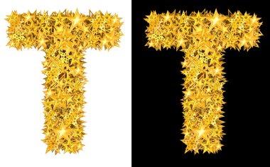 Gold shiny stars letter T