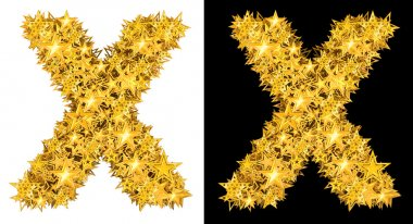 Gold shiny stars letter X