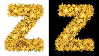 Gold shiny stars letter Z