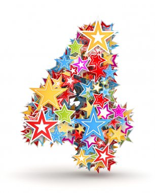 Number 4, from bright colored holiday stars staked