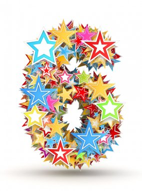 Number 6, from bright colored holiday stars staked