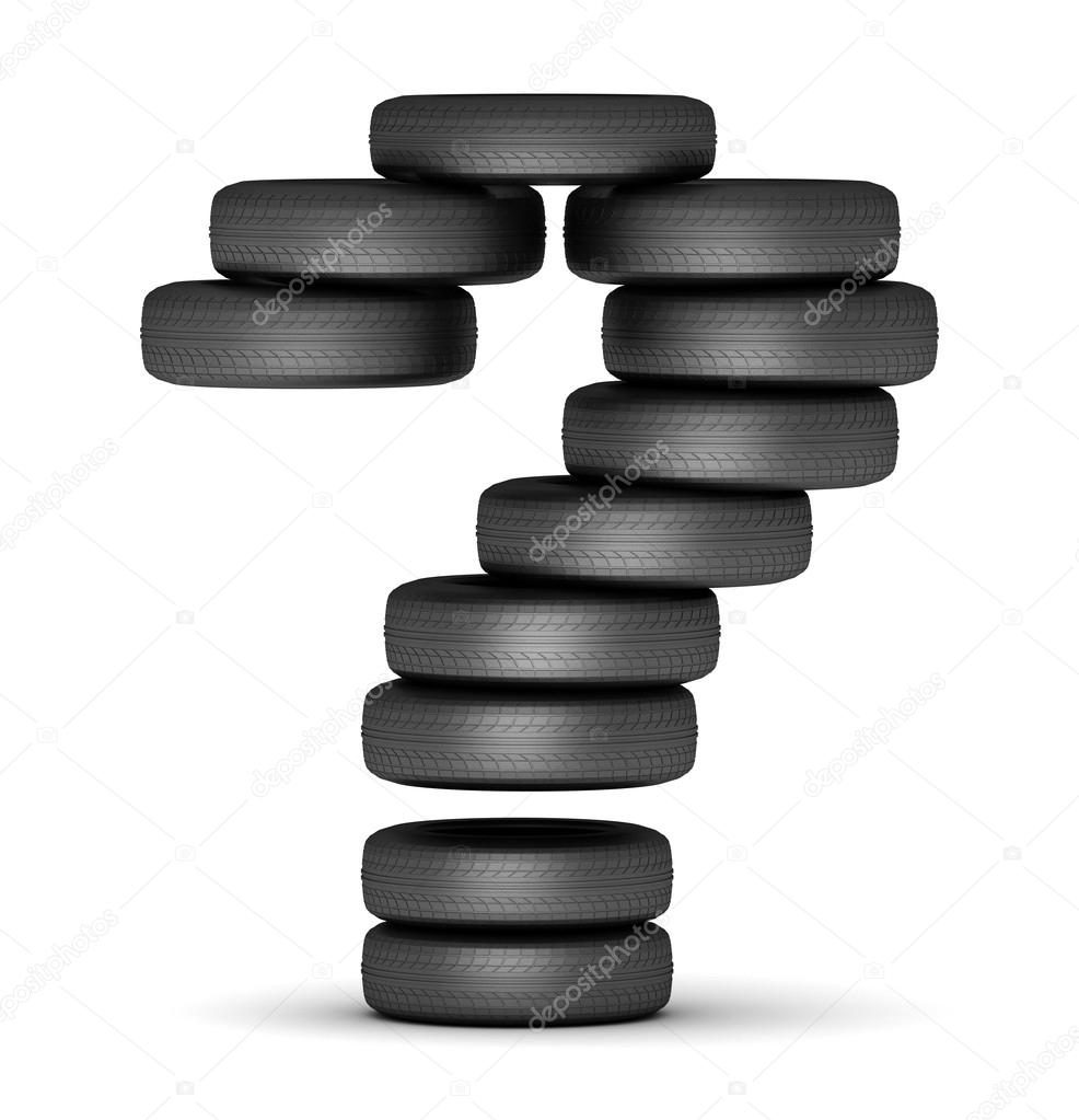 Question Mark Staked From Cars Rubber Tires Black On