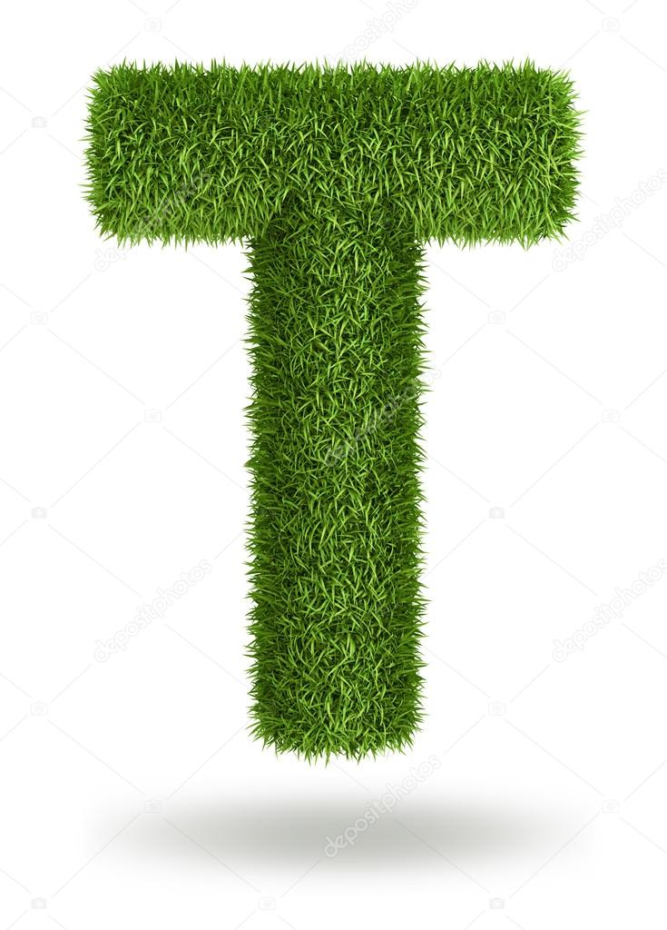 Natural grass letter T