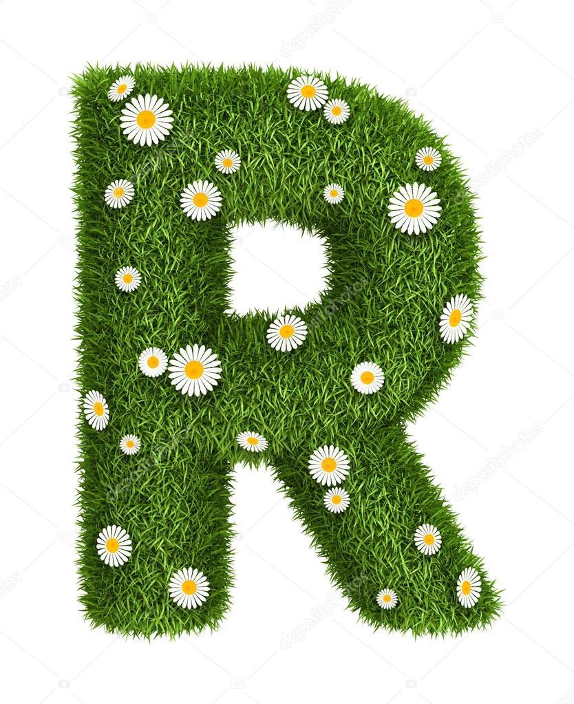 Natural grass letter R