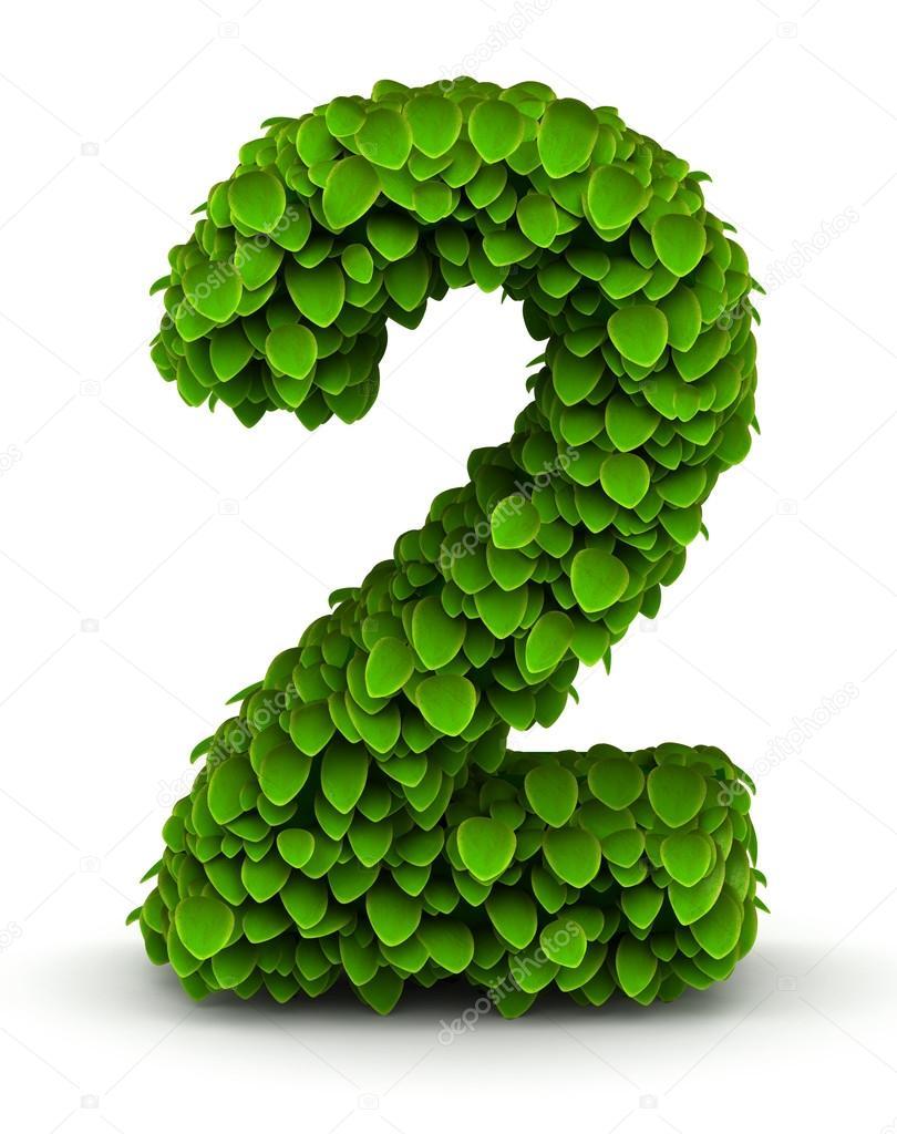 Number 2, green leaves font