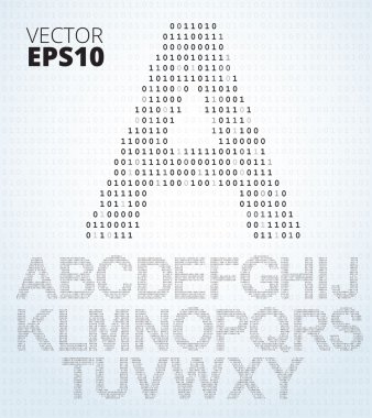 Letter A-Z, alphabet from binary code